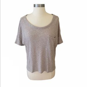 American Eagle Beige Ribbed Chest Pocket Top S